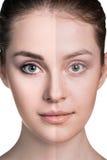 Comparative portrait of female face Stock Image