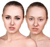 Comparative portrait of female face Royalty Free Stock Photo
