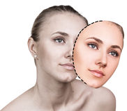 Comparative portrait of female face Stock Photos