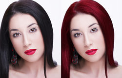 Comparative portrait of woman before and after dyeing hairs Royalty Free Stock Image