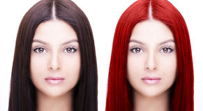 Comparative portrait of woman before and after dyeing hairs Stock Image
