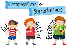 Comparatives and superlatives for word fat. Illustration Stock Photography