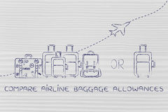 Compare airline baggage allowances: generous or strict Stock Photography
