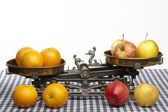 Compare apples to oranges Royalty Free Stock Photo