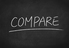 Compare. Concept word on blackboard background stock image