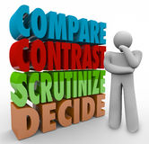 Compare Contrast Scrutinize Decide Thinking Person Choose Select. Compare Contrast Scrutinize Decide 3d words beside a thinking person pondering a major choice Stock Image
