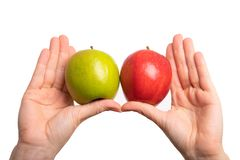 Compare and differentiate. Red and green apples. Colourful fruits isolated in front of white background stock photo