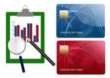 Compare el costo de las tarjetas de crédito Fotografía de archivo libre de regalías