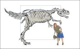 Compare o homem com um esqueleto de um dinossauro ilustração royalty free