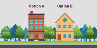 Compare between two house to buy with option A and B Stock Images