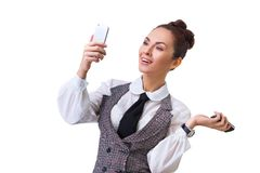 Compare the two mobile phones Stock Image