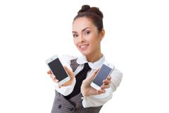 Compare the two mobile phones Royalty Free Stock Photography