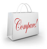 Compare Word Shopping Bag Find Choose Best Bargan Deal Sale Royalty Free Stock Photos