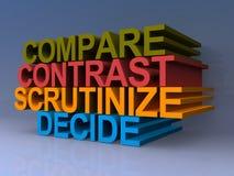 Comparez, contrastez, contrôlez, décidez illustration libre de droits