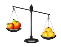 Comparing Apples and Oranges. An illustration featuring apples and oranges in a balancing scale. Based on the saying, 'like comparing apples and oranges royalty free illustration