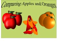 Comparing Apples and Oranges. A poster illustration depicting the unpleasant results of comparing apples and oranges Stock Photos