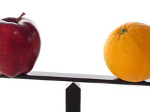 Comparing Apples to Oranges Unbalanced. Comparing apples to heavy oranges on a balance beam isolated on white close-up Stock Photography