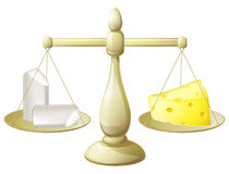 Comparing chalk and cheese scales. Comparing chalk and cheese on a set of scales conceptual illustration for necessity to balancing different things or futility Stock Photo