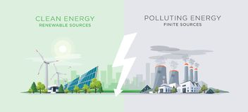 Free Comparing Clean And Polluting Energy Power Stations Stock Photography - 113077892