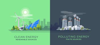 Comparing Clean and Polluting Energy Power Stations Stock Image