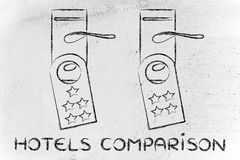 Comparing hotel, guest feedback on door hangers Royalty Free Stock Photos