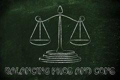 Comparing pros and cons: old school balance Stock Photography