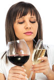 Comparing red and white wine Royalty Free Stock Image