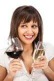 Comparing red and white wine Royalty Free Stock Images