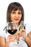 Comparing red and white wine Stock Image