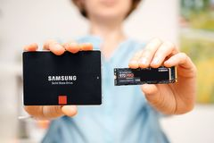 Comparing solid state drive with nvbme disk stock photo