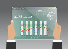 Comparing statistics in business, info-graphics report charts Stock Image