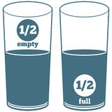 Comparison. A glass half full and a glass half empty Stock Illustration