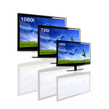 Comparison between 3 TV. Showing the same image in different resolutions and sizes royalty free stock images