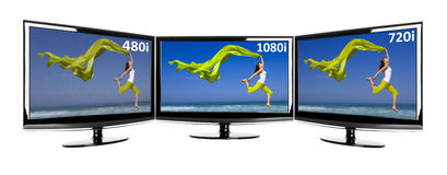Comparison between 3 TV. In parallel showing the same image in different resolutions stock photos
