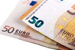 Compare Cyrillic version of 50 euro banknote with the old one Royalty Free Stock Image