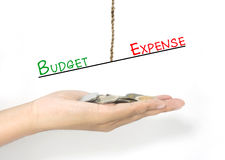 Comparison between budget and expense Stock Photo