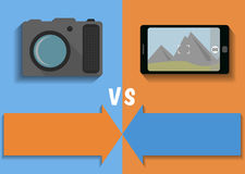 Comparison of camera and phone Stock Images