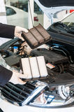 Comparison of car air filters Royalty Free Stock Images