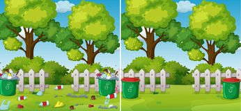 A Comparison of Clean and Dirty Park vector illustration