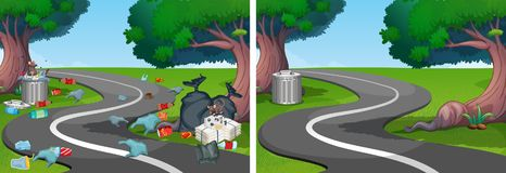 A Comparison of Clean and Dirty Street royalty free illustration