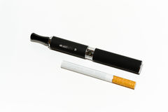 Comparison between conventional and electronic cigarette Royalty Free Stock Photo