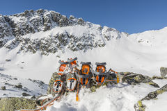Comparison of crampons in the mountains Royalty Free Stock Photo