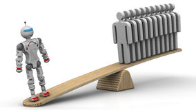 Comparison of the efficiency of the robot and the person Royalty Free Stock Photo