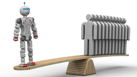 Comparison of the efficiency of the robot and the person Stock Photography