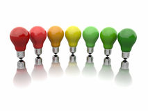 Comparison of energy efficiency lamps. Filament light bulbs. 3d Royalty Free Stock Photo