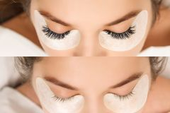 Eyelash Extension. Comparison of female eyes before and after. royalty free stock photos