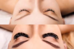 Eyelash Extension. Comparison of female eyes before and after. Hollywood, russian volume stock images
