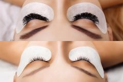 Eyelash Extension. Comparison of female eyes before and after. Hollywood, russian volume stock photos