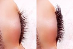 Eyelash Extension Procedure. Comparison of female eyes before and after. Royalty Free Stock Photo
