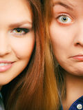 Comparison of girls with and without make up. Look results of using cosmetics. Portrait of two girls one with and second without make up. Comparison of natural Royalty Free Stock Photo